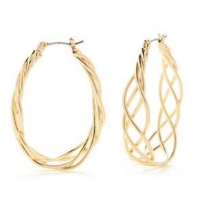 Gold-Tone Classic Large Braided Hoop Earrings